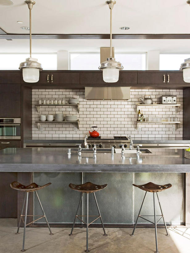 Brick Contemporary Kitchen Backsplash