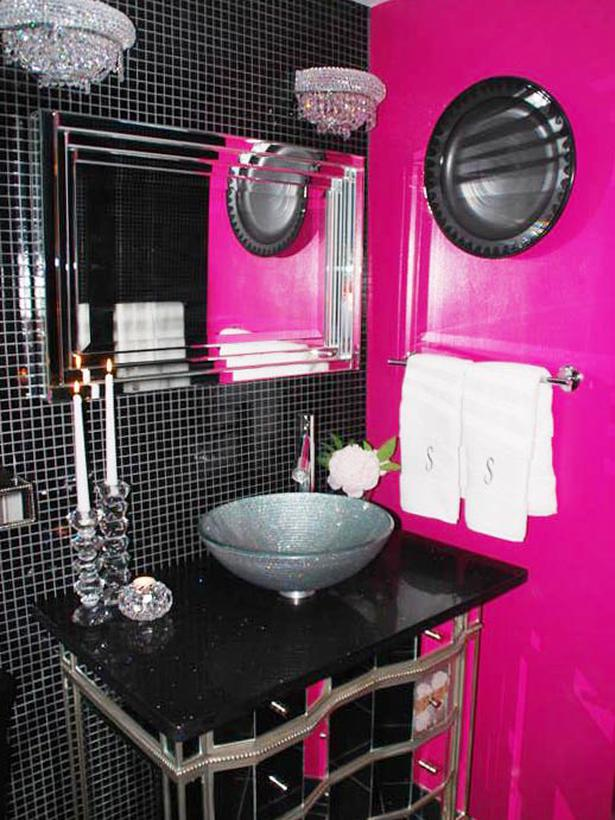 lisaann19672002 hot pink black sparkle bathroom