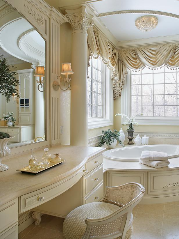 Beautiful master bathroom with ornate column hgtv for Traditional master bathroom ideas